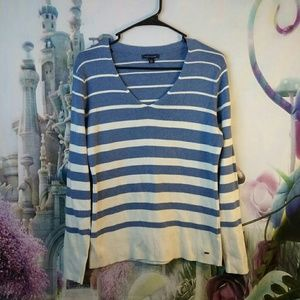 Blue and White stripped Tommy Hilfiger shirt